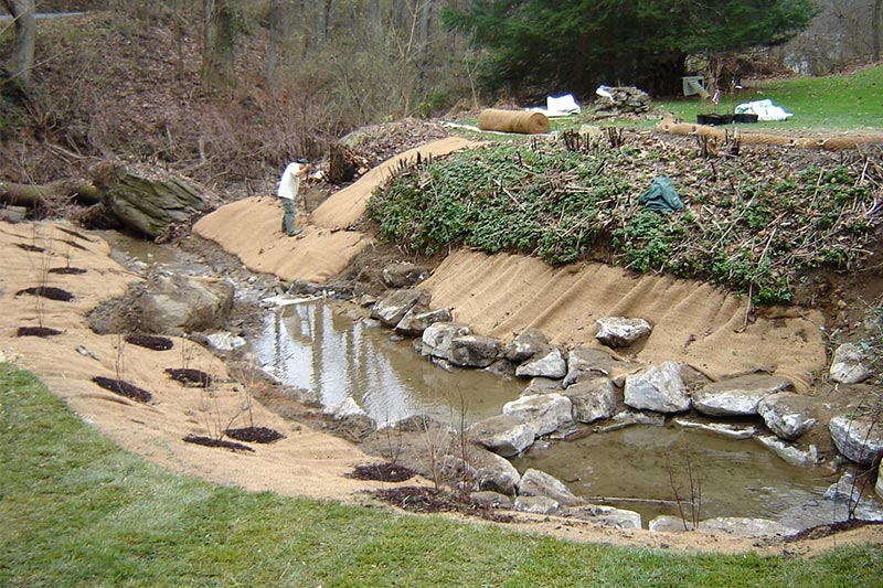 Looking downstream during final stabilization and planting