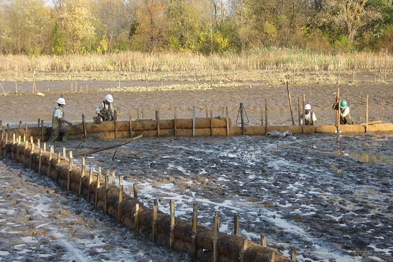 Heritage Island setting up coir log containment cells prior to placing dredge material
